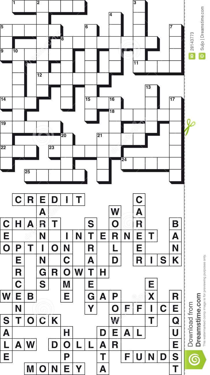 Business Crossword Puzzle stock vector. Image of blank