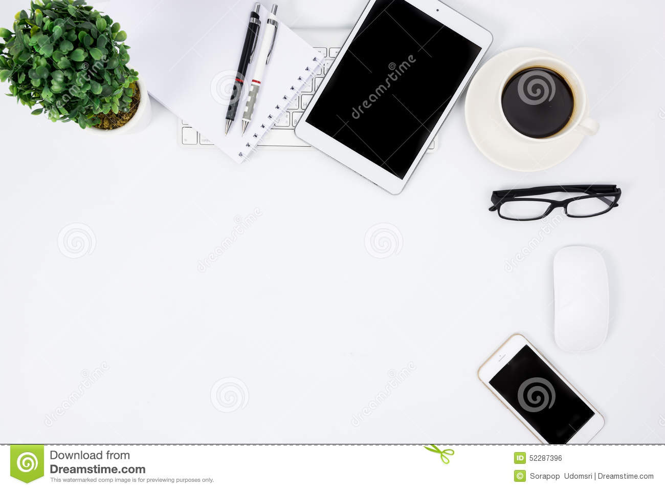Business Desk With A Keyboard Mouse And Pen Stock Photo
