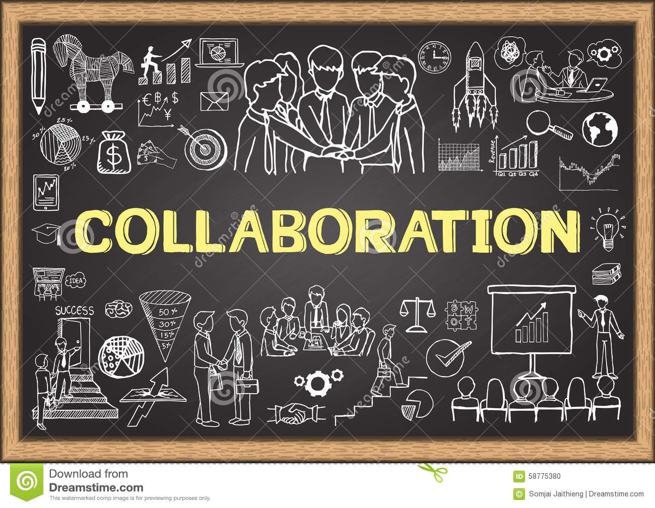 Business Doodles On Chalkboard With The Concept Of Collaboration Stock Vector  Image 58775380