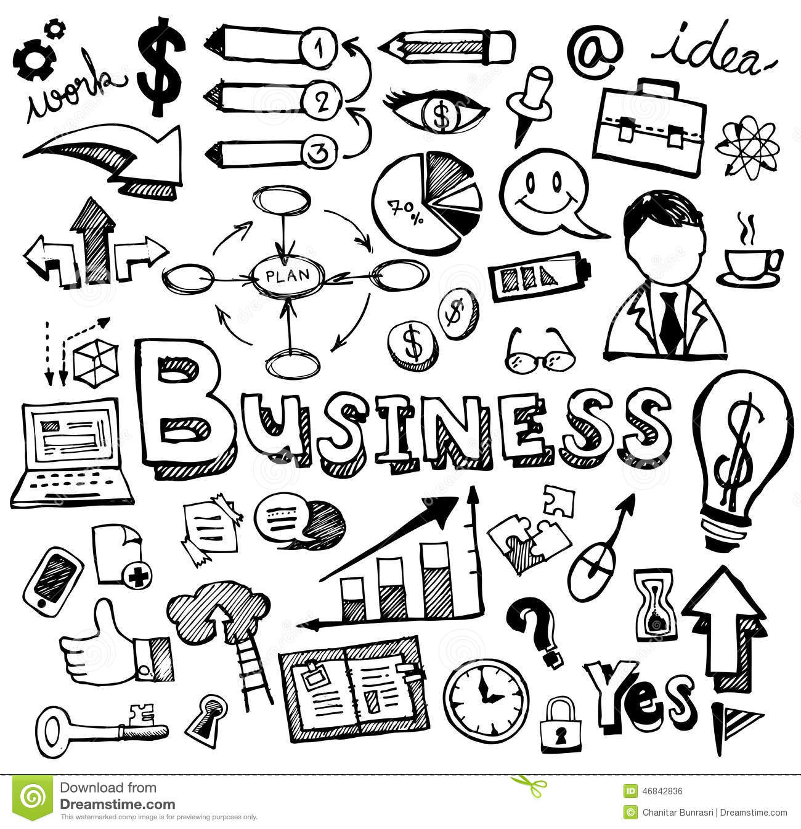 Business Doodles Hand Drawn Vector Stock Vector