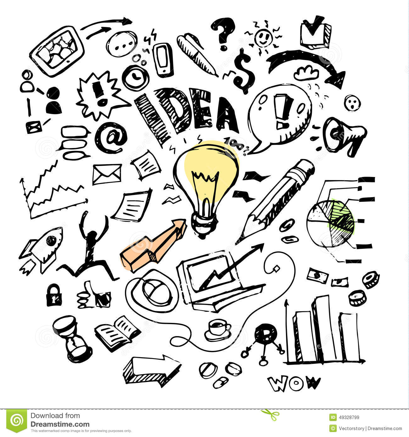 Business doodles. Idea stock illustration. Image of