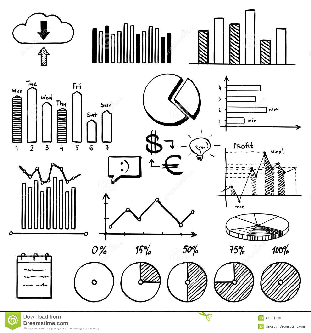 Business Finance Doodle Hand Drawn Elements With Stock