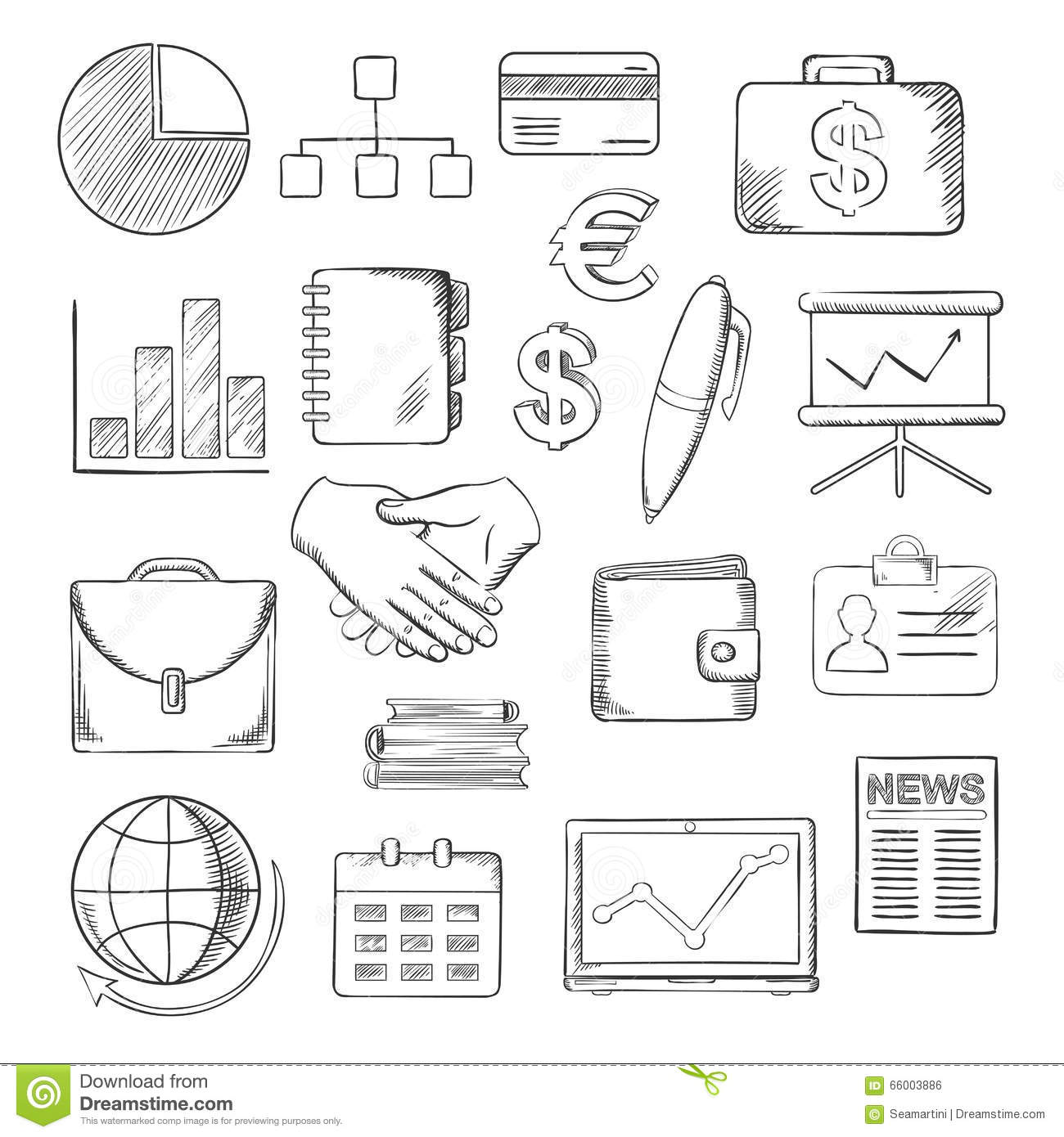 Business Finance And Office Icons Sketches Stock Vector