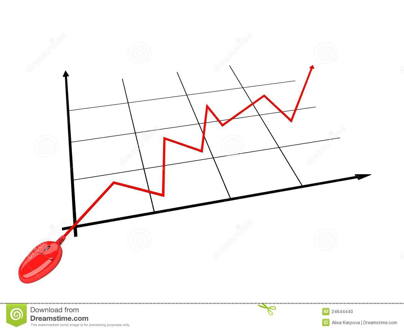 Business Financial Graph With Red Computer Mouse Stock Photo