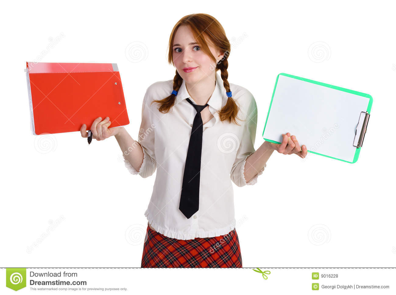 Business Girl With A Folder And A Worksheet Stock Photo
