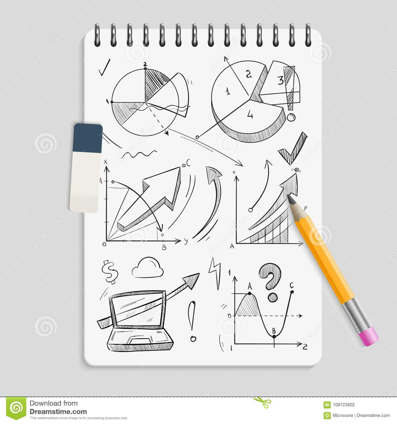 hight resolution of business graphics pencil sketches on realistic notebook with eraser and pencil brainstorm concept