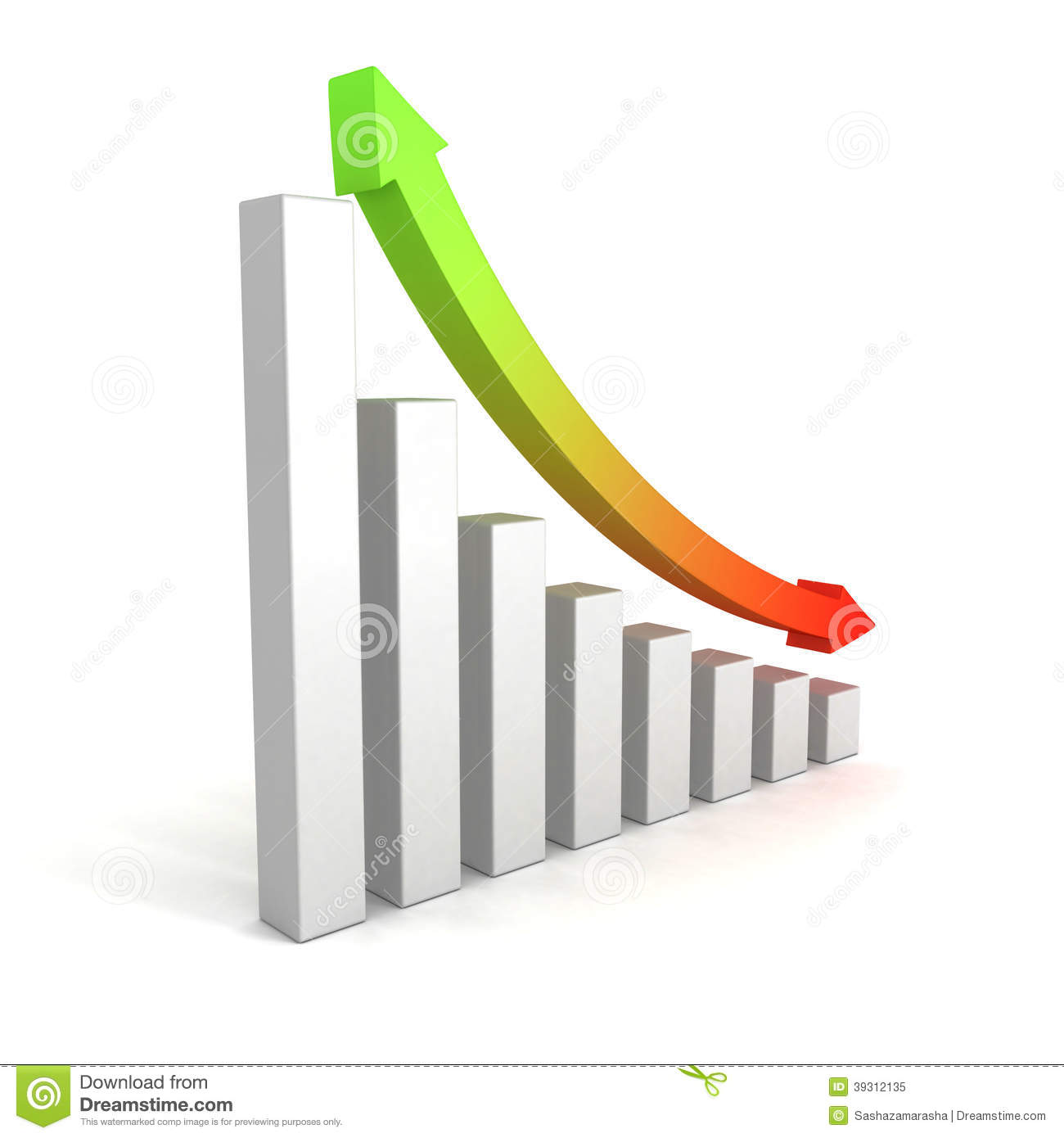 Business Growing Bar Chart With Up Down Arrow Stock