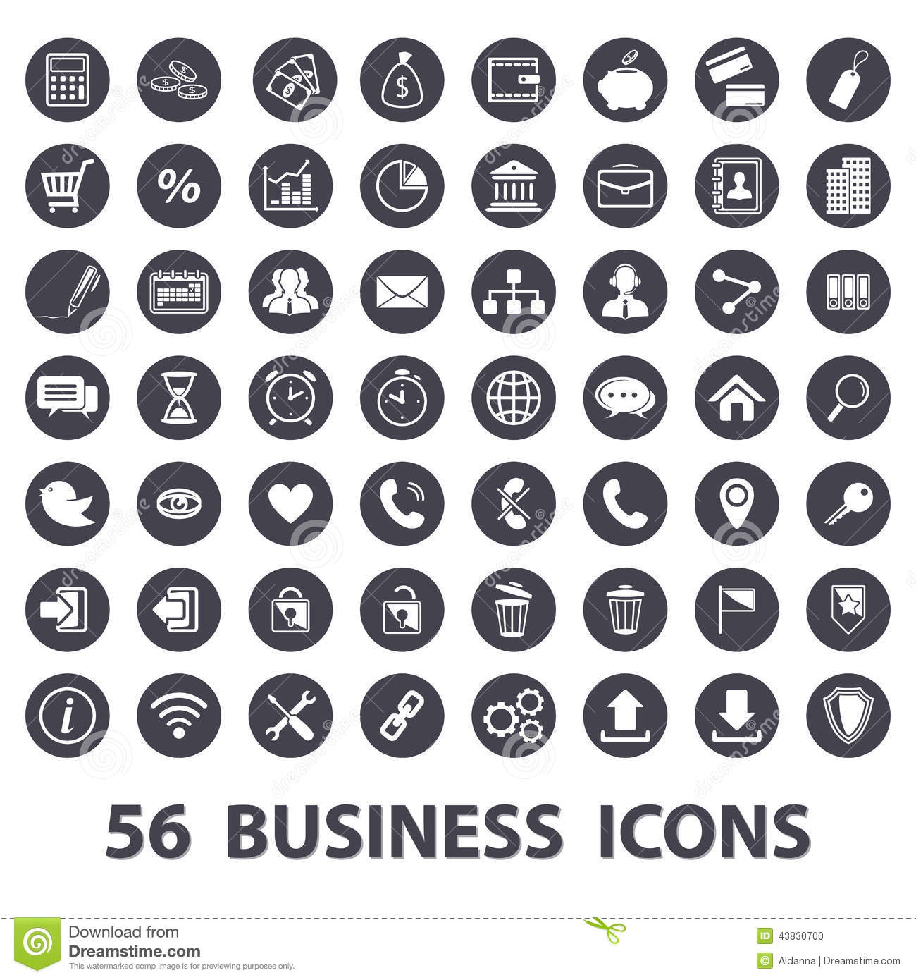Business Icons Set Stock Vector Illustration Of Message