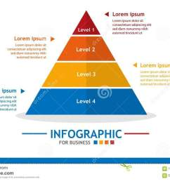 business infographic template with 4 steps pyramid diagram with level business data presentation  [ 1300 x 926 Pixel ]