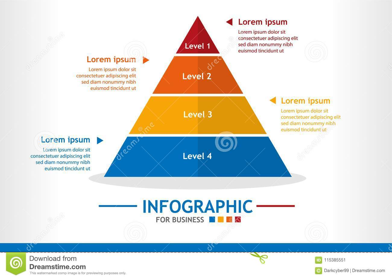 hight resolution of business infographic template with 4 steps pyramid diagram with level business data presentation