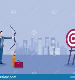 archery and business man business man aiming at the target concept business vector illustration  [ 1600 x 1157 Pixel ]