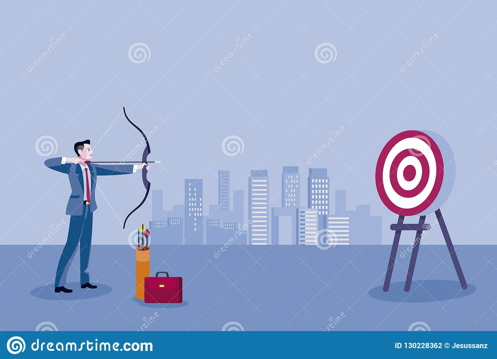 hight resolution of archery and business man business man aiming at the target concept business vector illustration