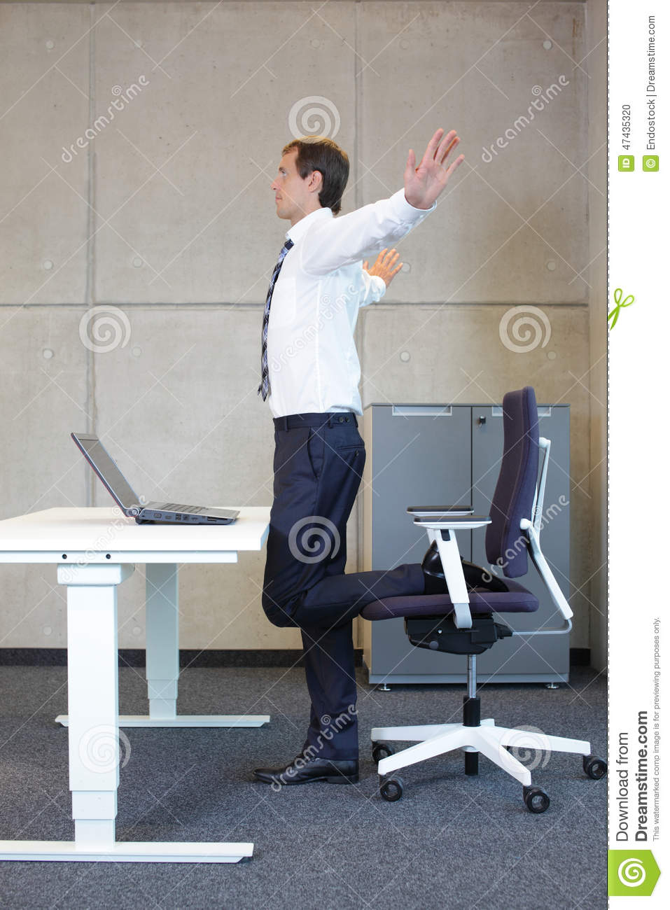 Business Man Exercises In Office Stock Photo  Image 47435320