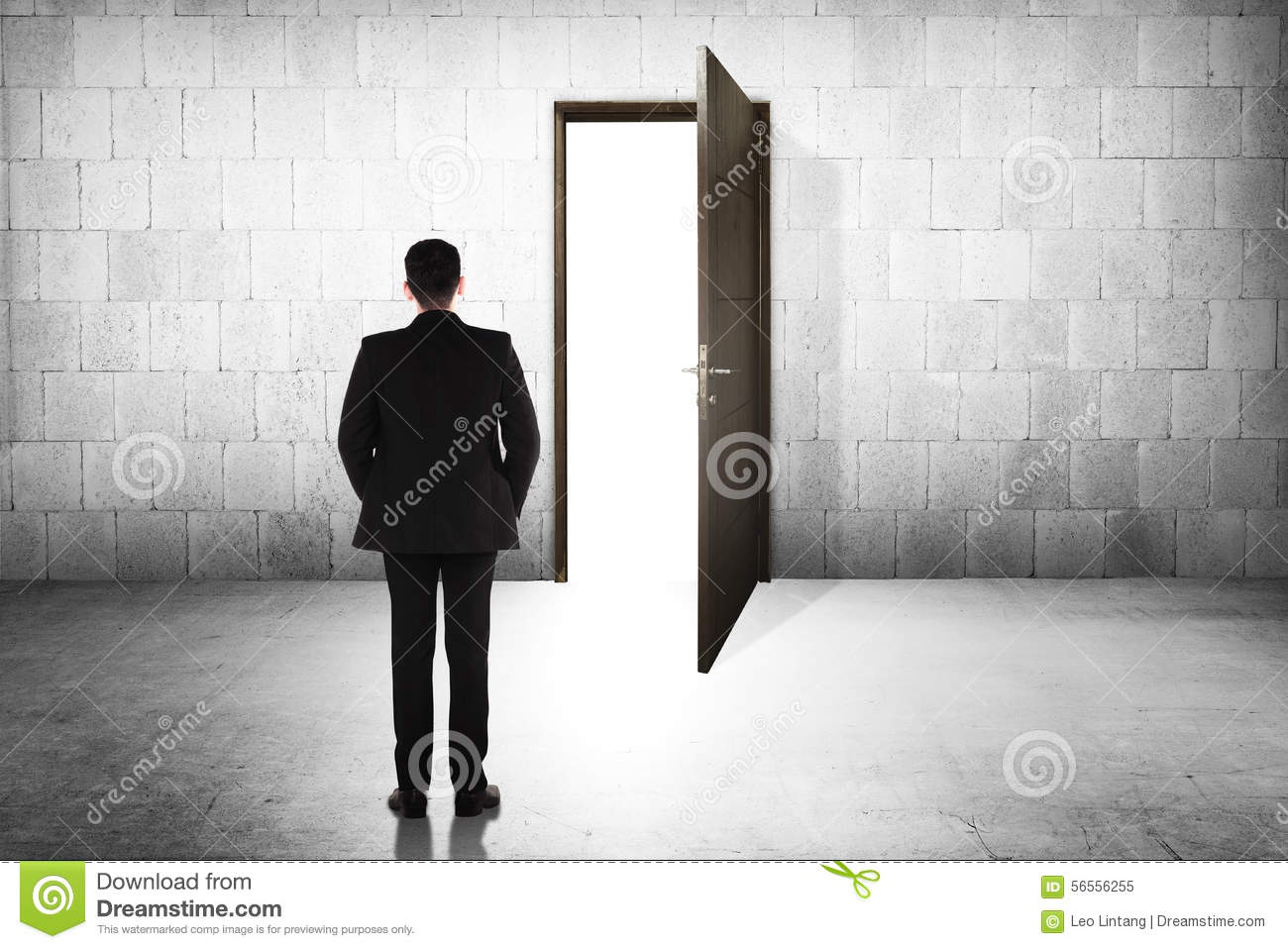 Business Man Going To The Open Door Stock Image  Image of