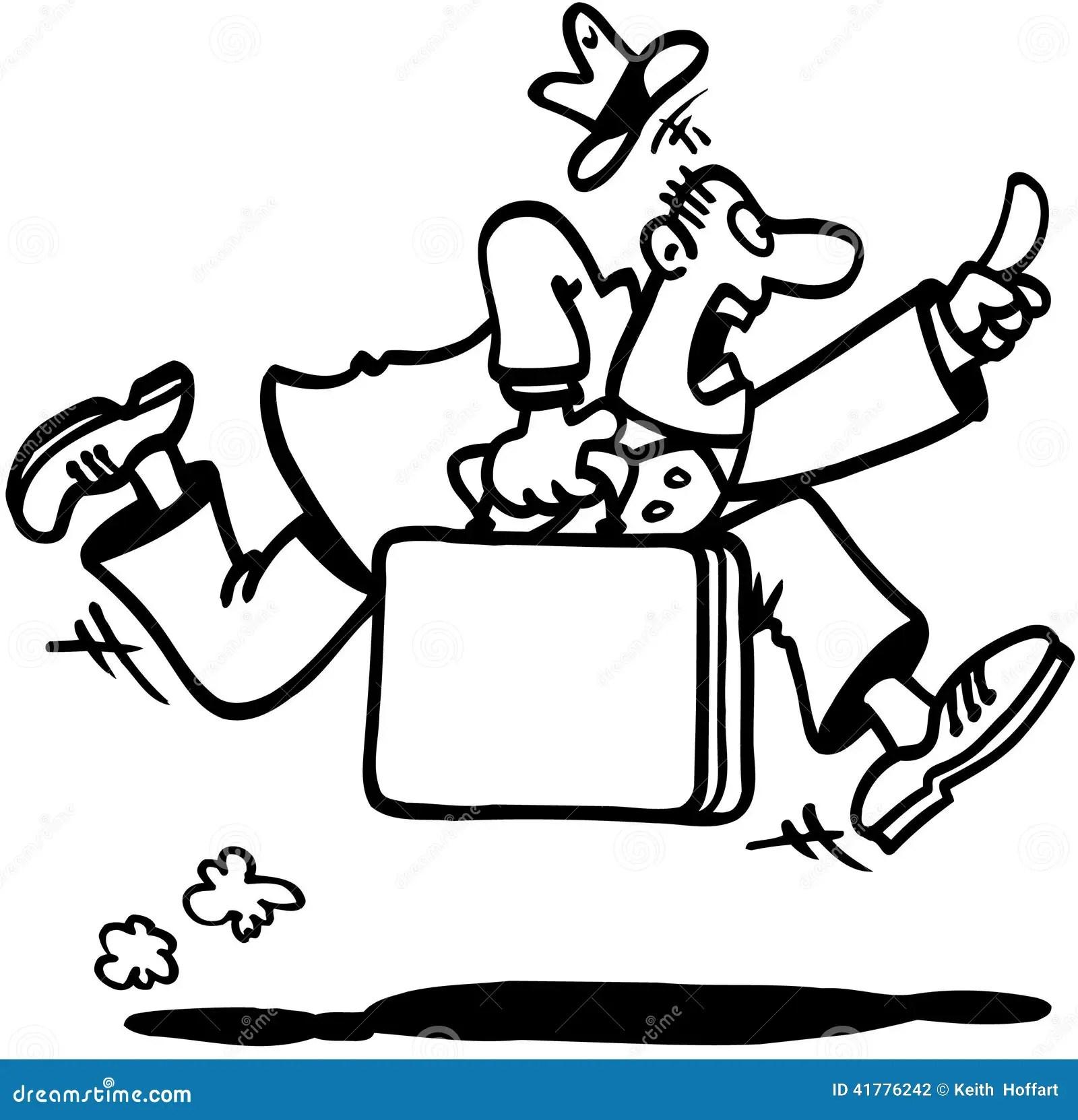 Business Man Running Cartoon Design Vector Clipart Stock