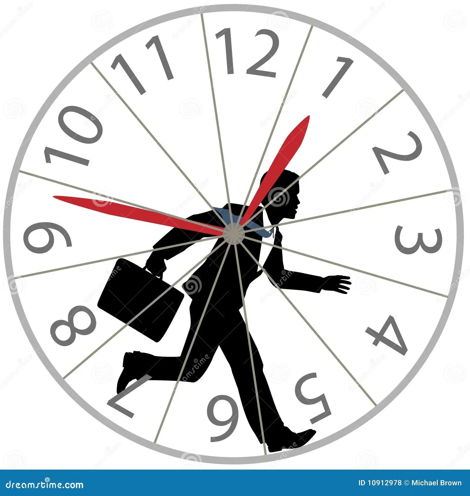 Business Man Runs Rat Race In Hamster Wheel Clock Stock