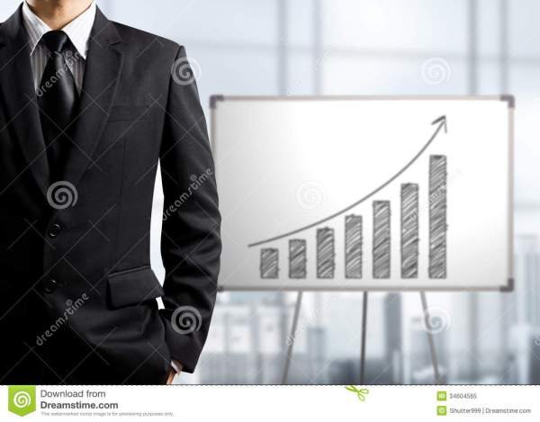 Business Man Standing And Drawing Growth Chart White
