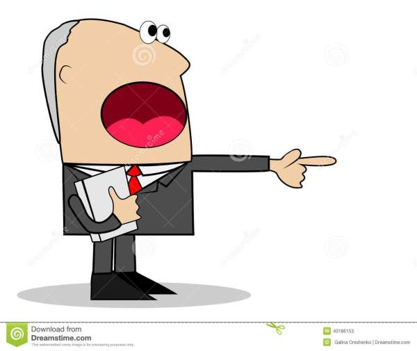 Business Man Yells And Shows Index Finger Stock Vector - Illustration 40186153