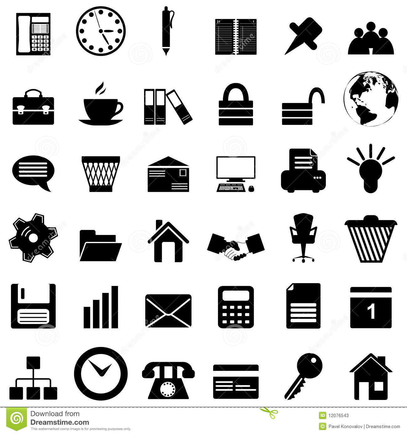 Business And Office Icons Set Stock Vector