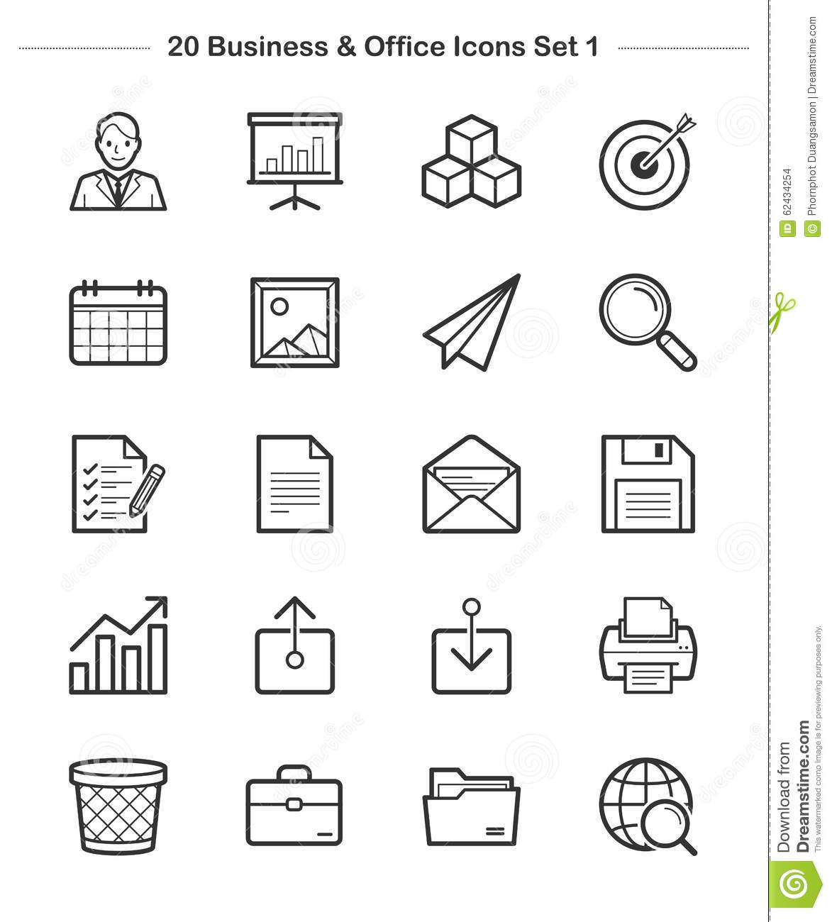 Business & Office Icons Set 1, Line Thickness Icons Stock