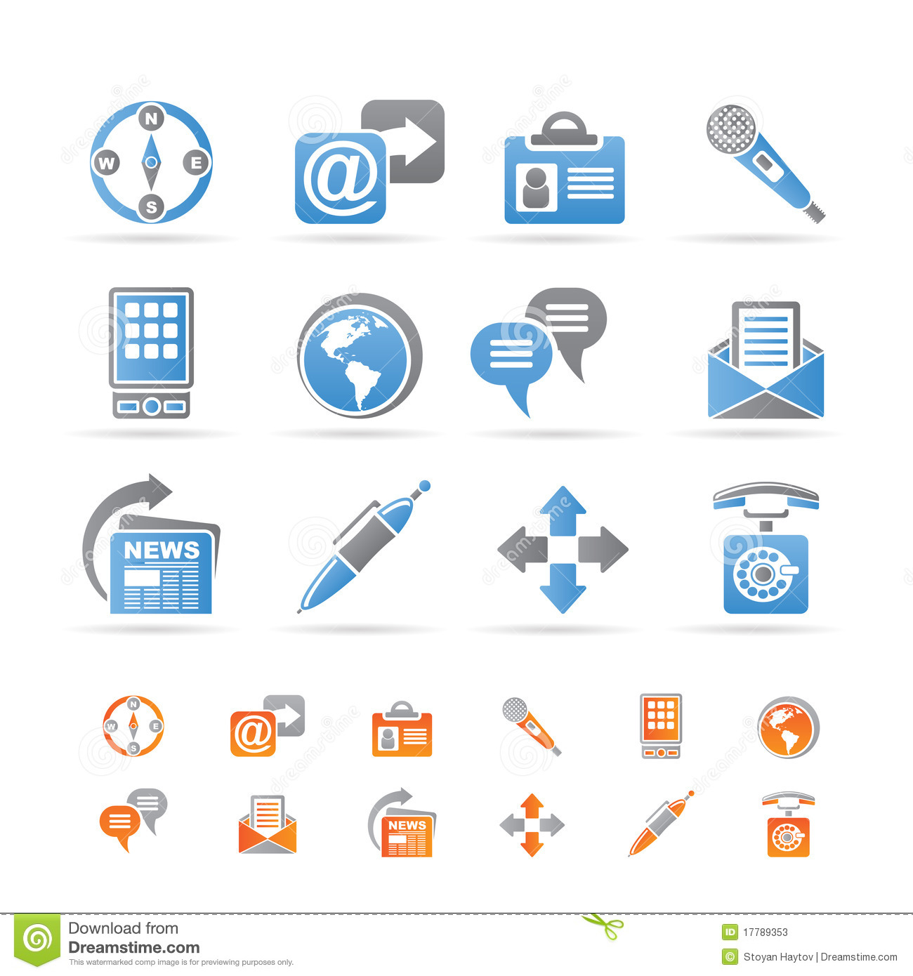 Business Office And Internet Icons Stock Photos