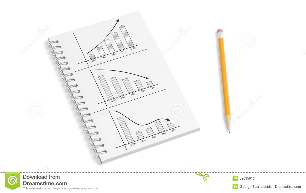 Business paper notepad with info charts