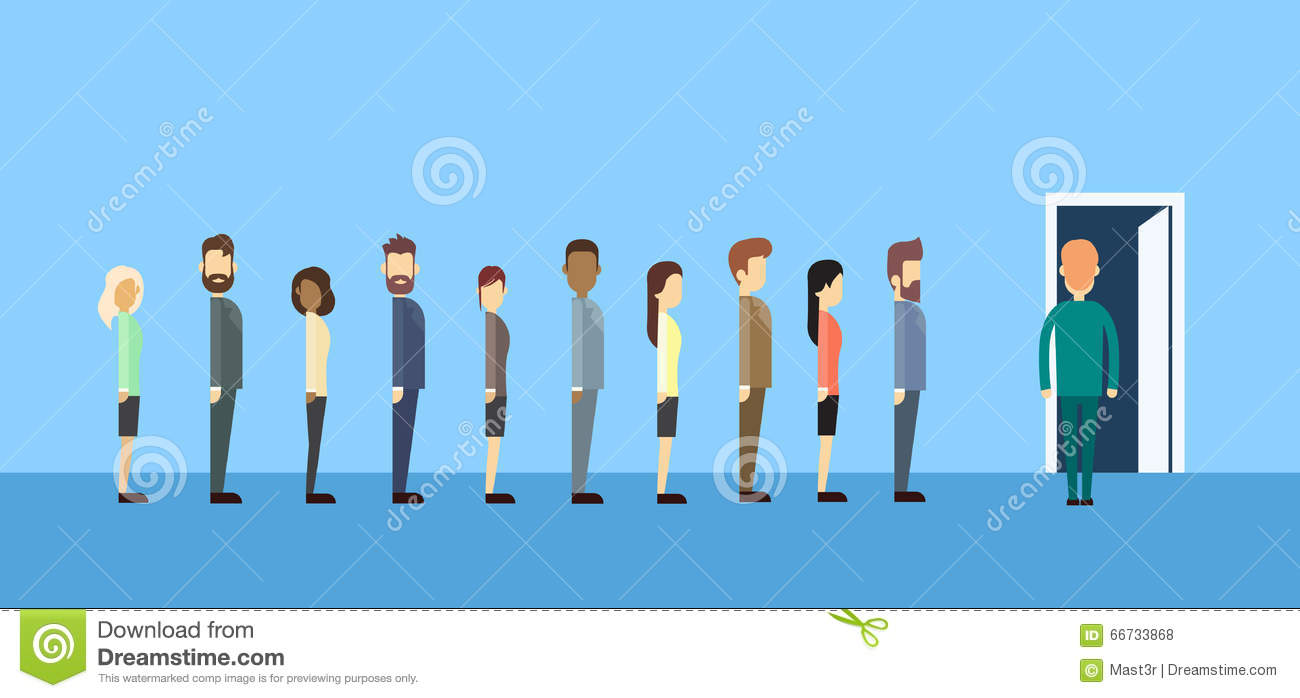 office chair illustration chairs folding business people group sitting in line queue door stock vector - image: 66733868