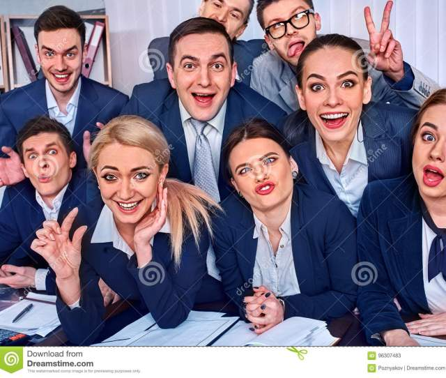 Business People Office Life Of Team People Are Happy With Thumb Up