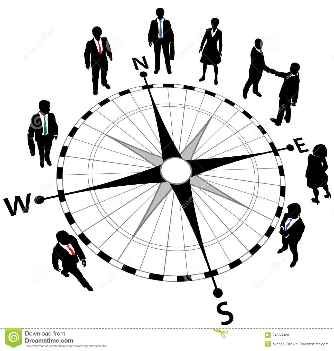 Business People Strategy Compass Directions Royalty Free Stock Photos