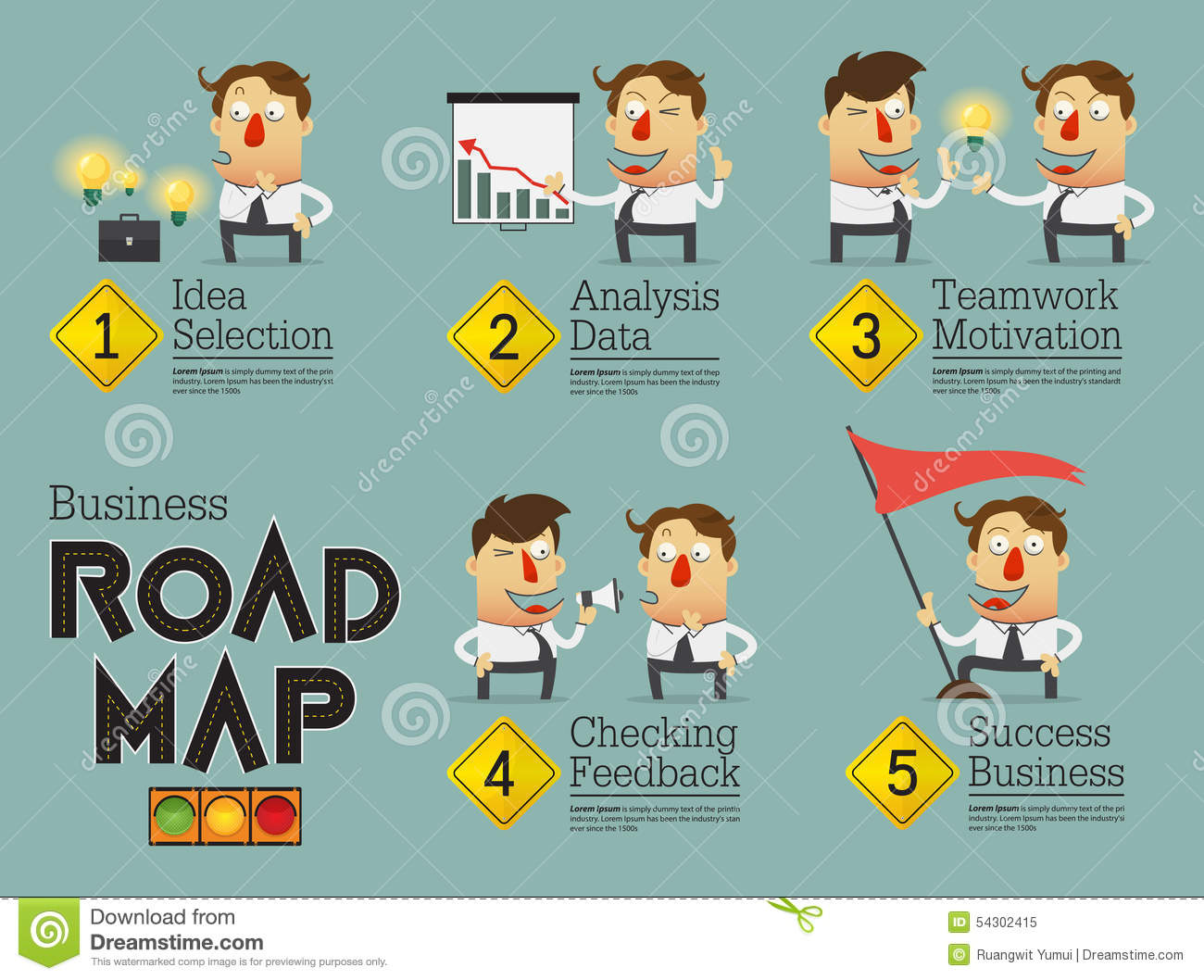 Business Planning Roadmap Infographic Cartoon Character