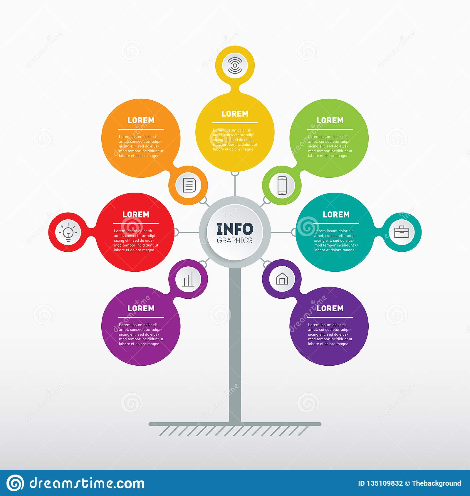 hight resolution of web template of tree info chart or diagram vector info graphic of technology or education process with 7 steps