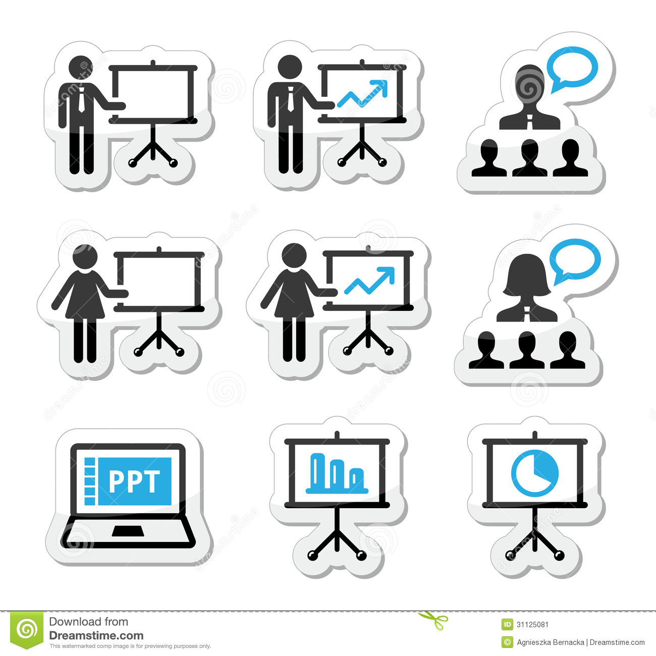 Business Presentation Lecture Speech Icons Stock