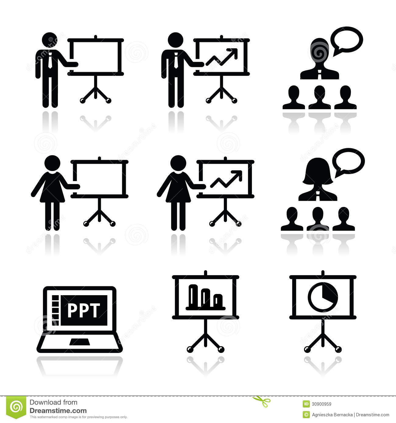 Business Presentation, Lecture, Speech Icons Royalty Free