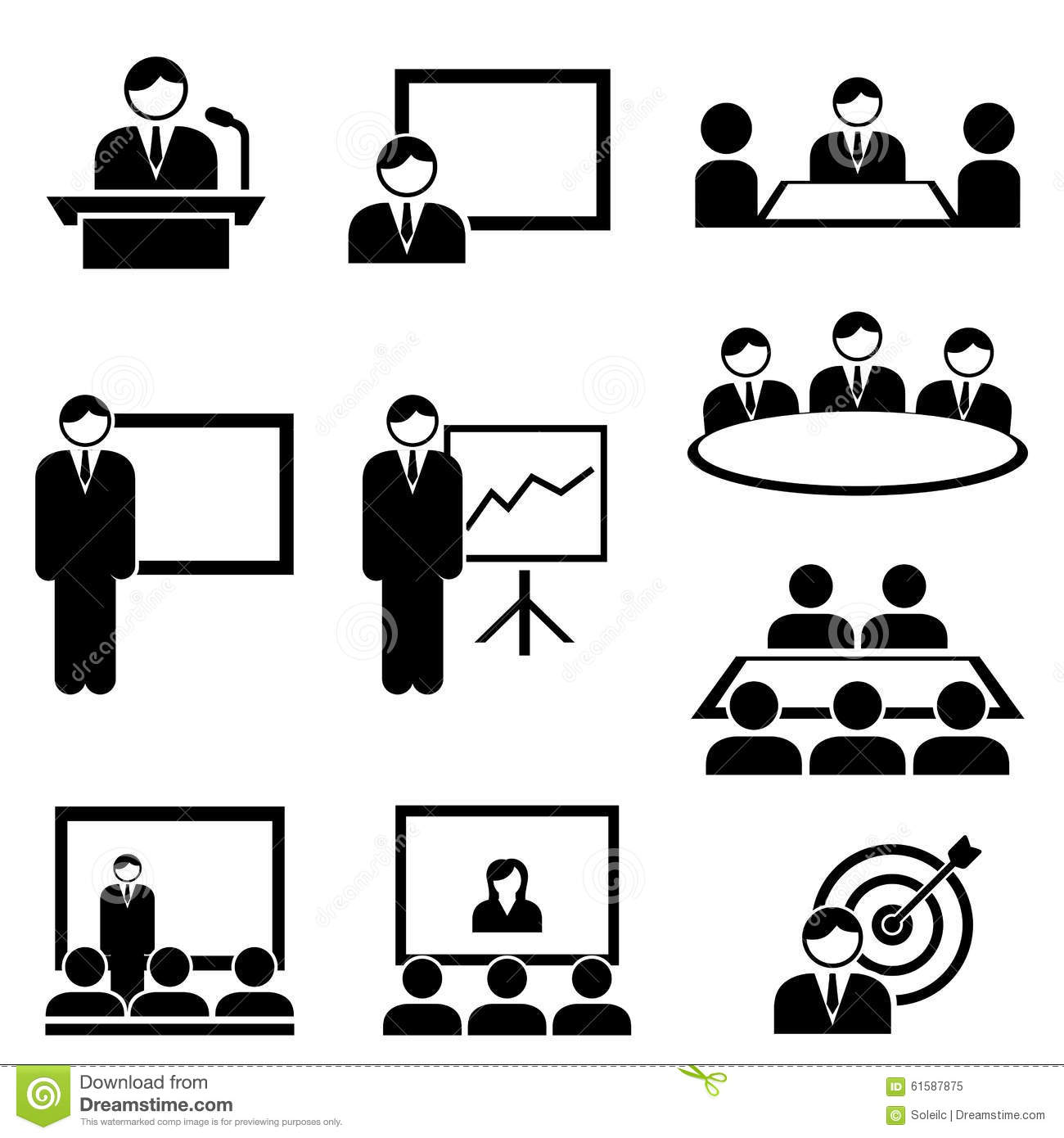 Business Presentation And Meeting Icons Stock Vector