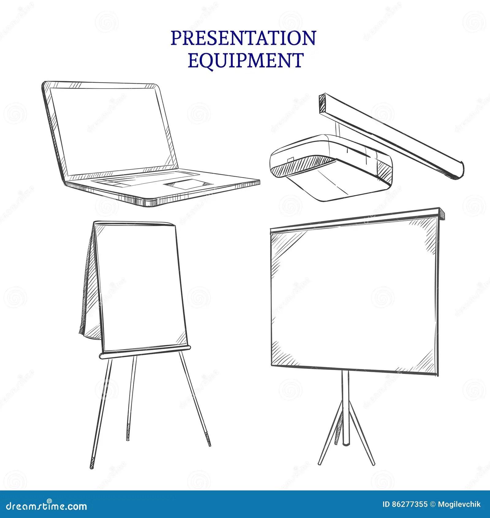Business Presentation Sketch Elements Set Stock Vector