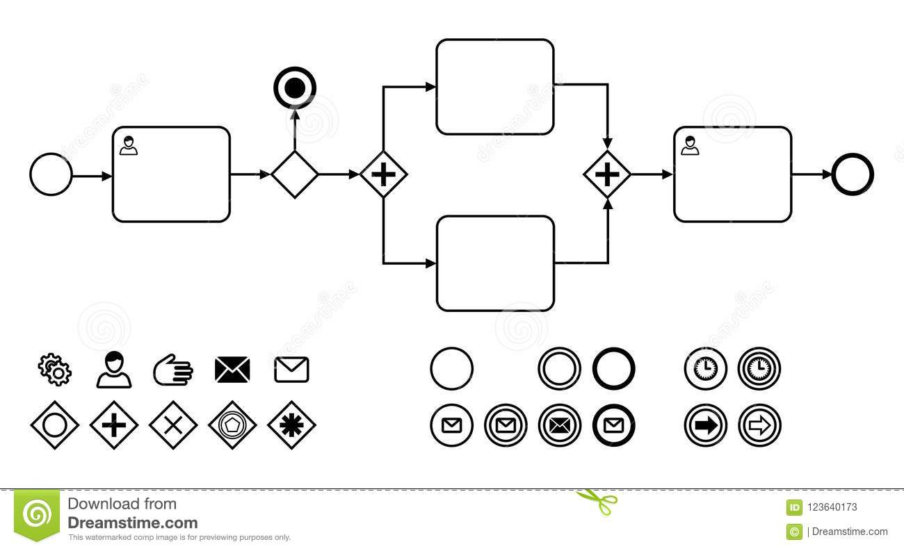 Business Process Diagrams With Icons Flat Vector
