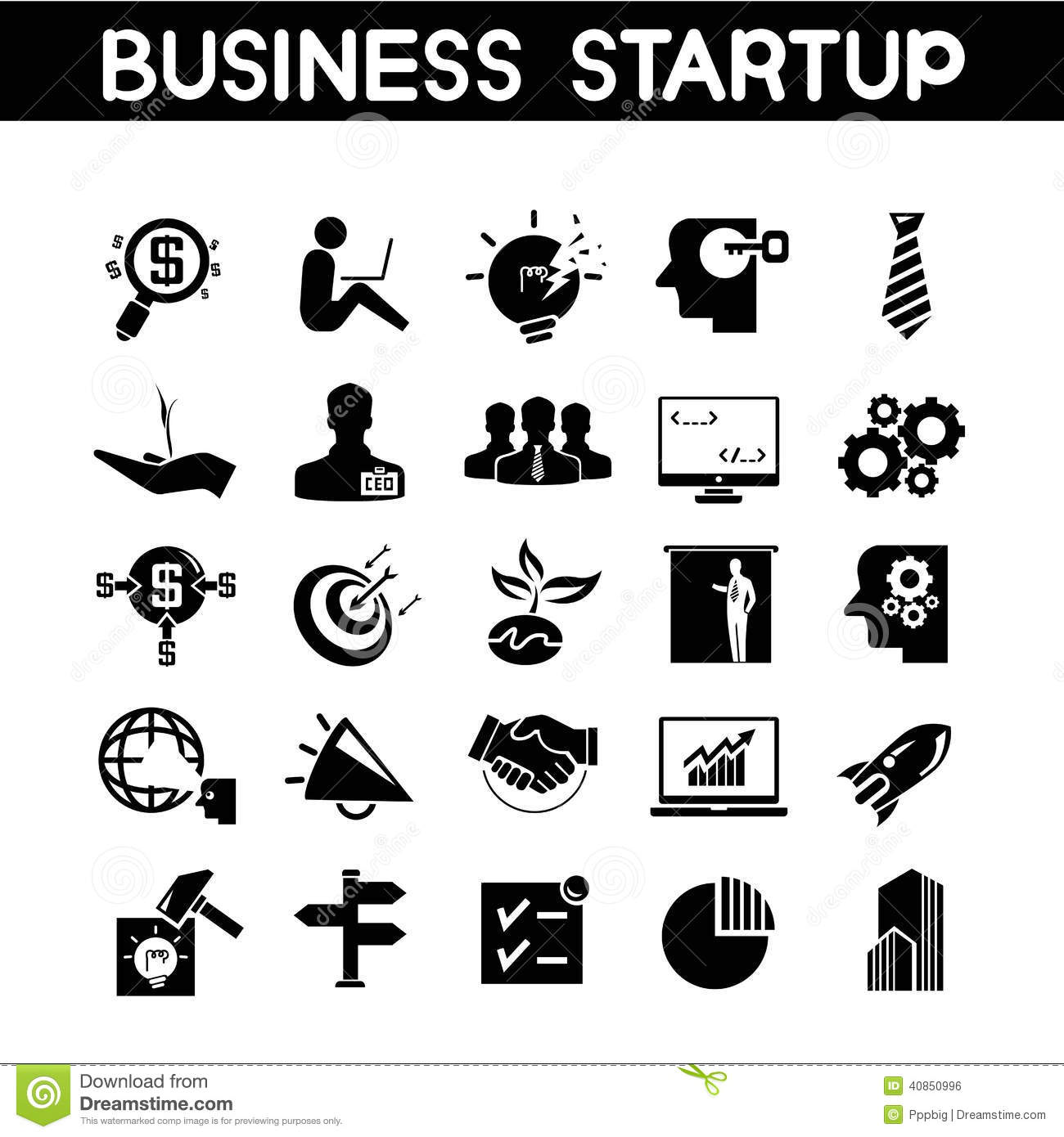 Business Startup Icons Stock Illustration