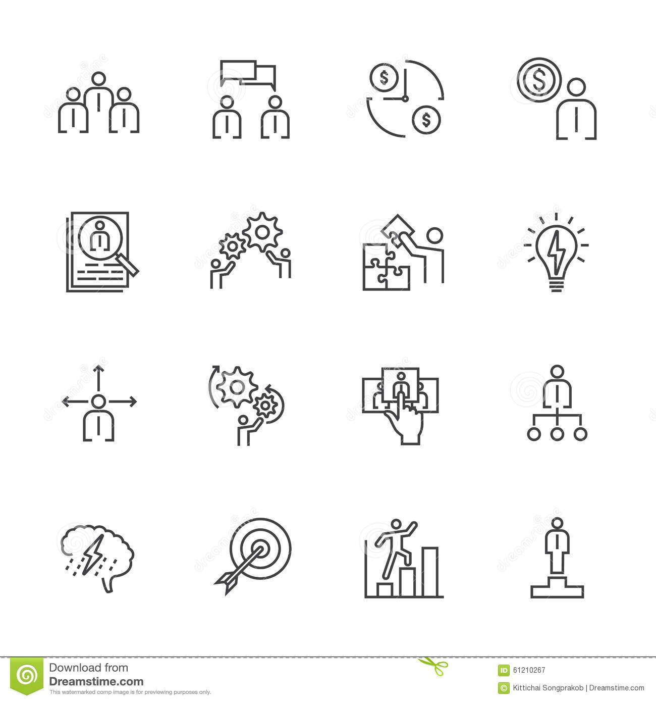 Business Team Building Concept, Line Icon Stock Vector