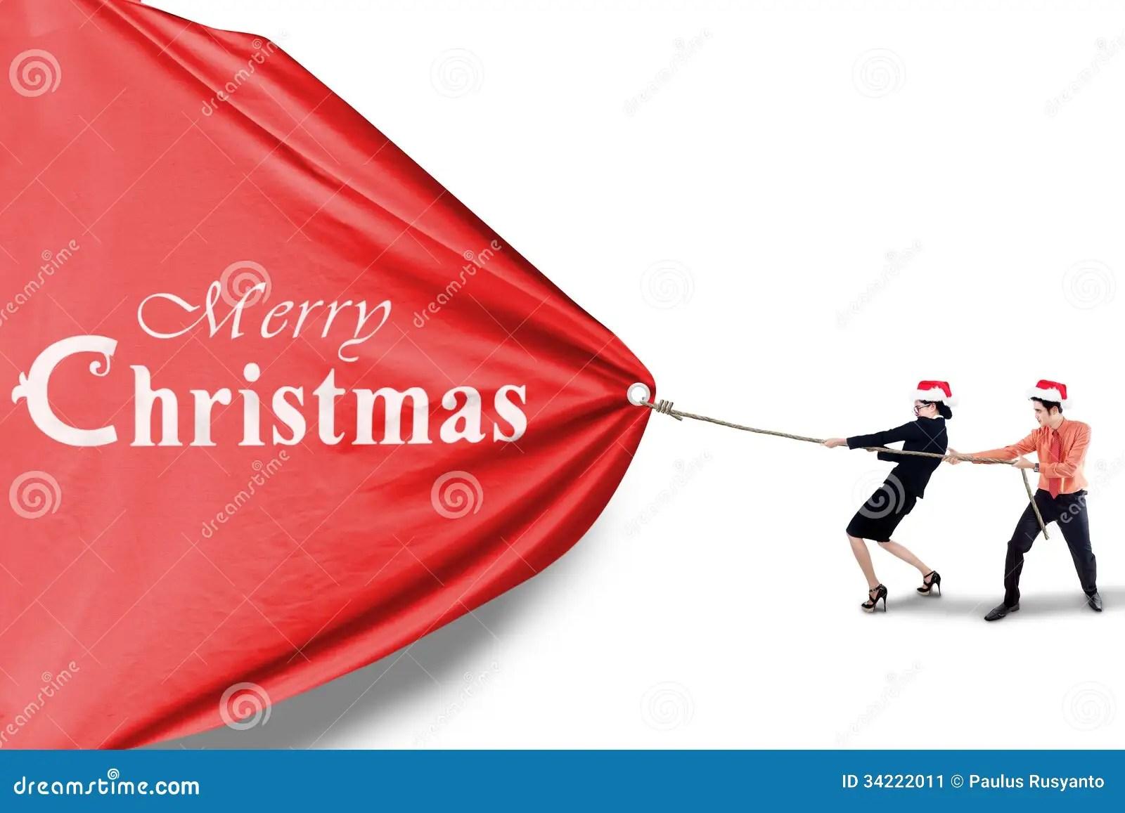 Business Team Pull Christmas Banner Stock Image Image
