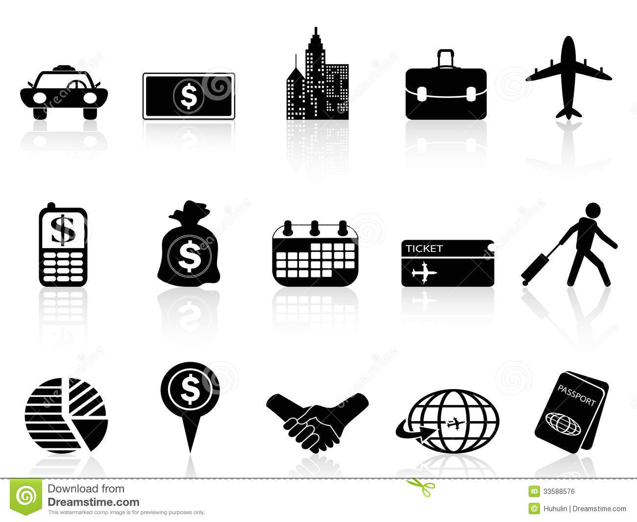 Business Travel Icons Stock Vector Image Of Luggage