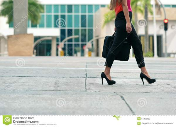 Business Woman Commuting Office Walk Stock - 51306159