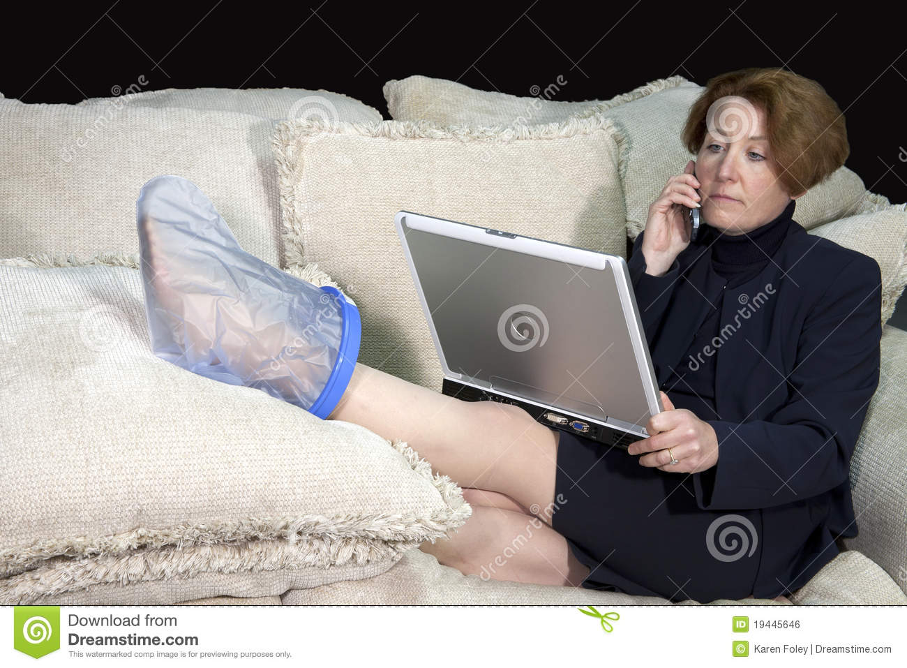 12 foot sofa black leather sets business woman with injury stock photo - image: 19445646