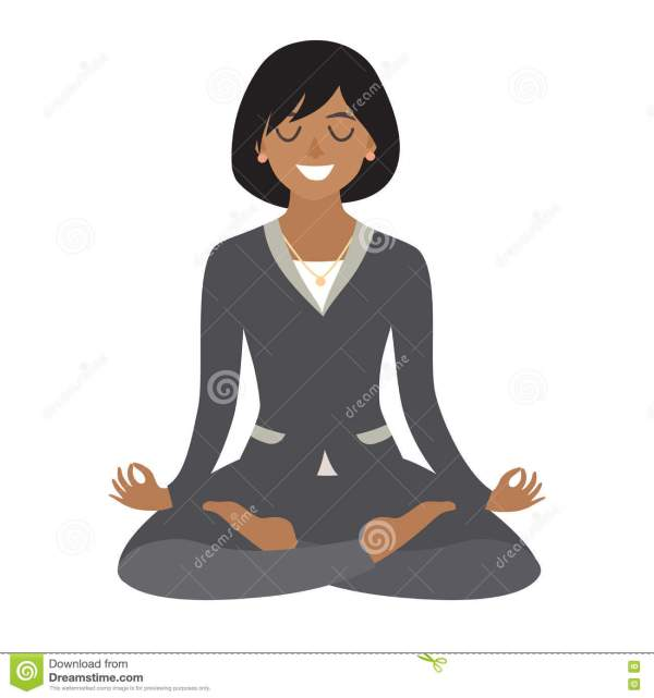 Business Woman Meditating. Concept Of Calm Work