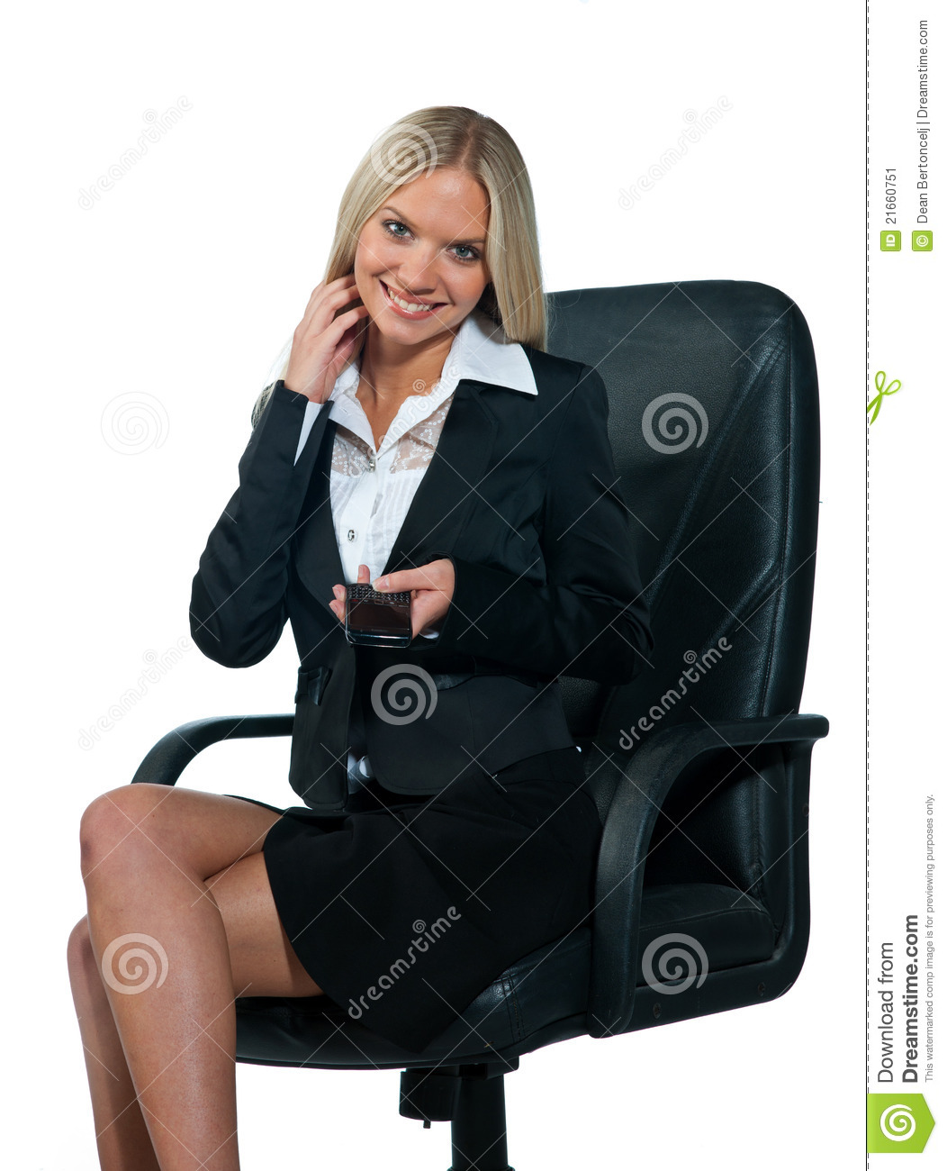 woman sitting in chair as rental business office stock image