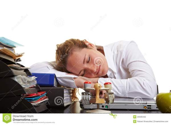 Business Woman Sleeping Desk Stock