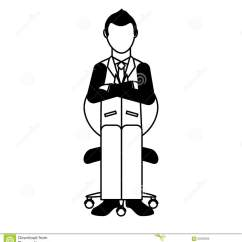 Office Chair Illustration For Bathroom Businessman Avatar Sitting On Stock Design