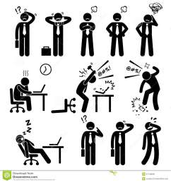 a set of human pictogram reprensenting business businessman poses and action of a stressful workplace the businessman is confuse sad angry  [ 1300 x 1390 Pixel ]