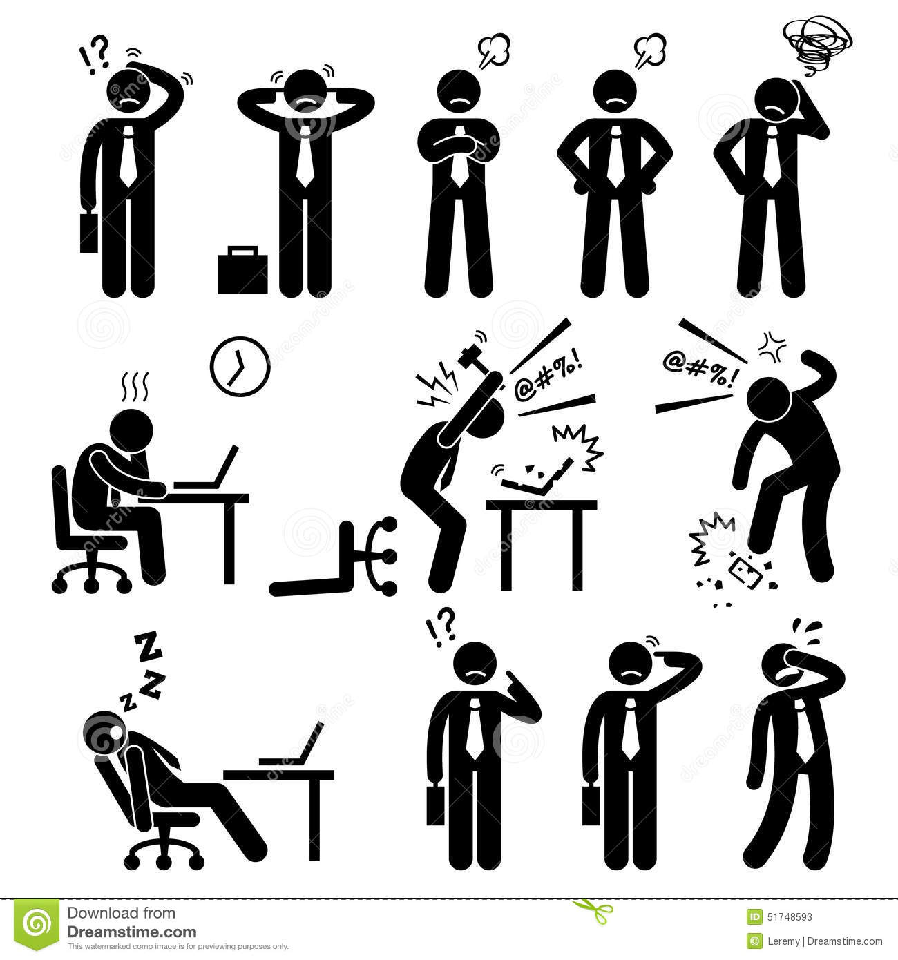 hight resolution of a set of human pictogram reprensenting business businessman poses and action of a stressful workplace the businessman is confuse sad angry
