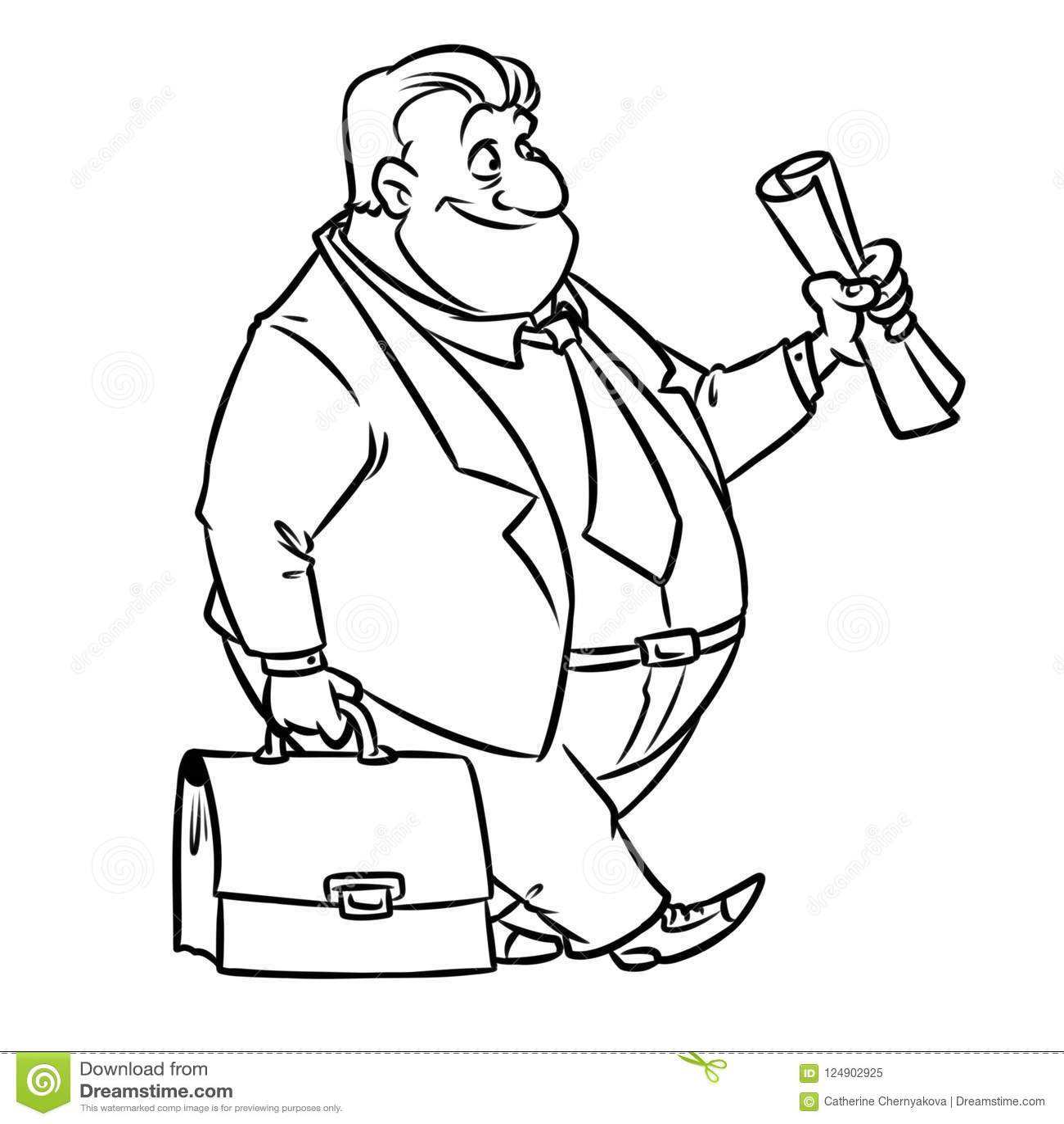 Businessman Business Suit Portfolio Suit Cartoon Stock