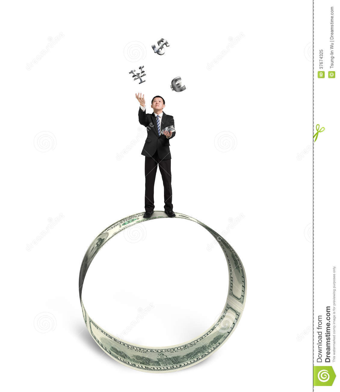 Businessman Catching And Throwing Money Symbols On Money